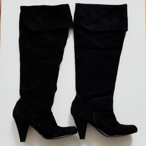 Restricted Black Suede Knee High Heeled Boots